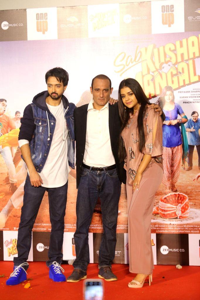 """Actors Priyank Sharma, Riva Kishan and Akshaye Khanna at the trailer launch of film """"Sab Kushal Mangal"""" in Mumbai on Dec 3, 2019. - Priyank Sharma, Riva Kishan and Akshaye Khanna"""