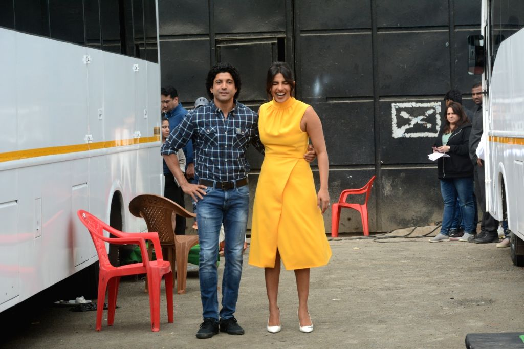 """Actors Priyanka Chopra and Farhan Akhtar during the promotions of his upcoming film """"The Sky Is Pink"""" in Mumbai on Sep 24, 2019. - Priyanka Chopra and Farhan Akhtar"""