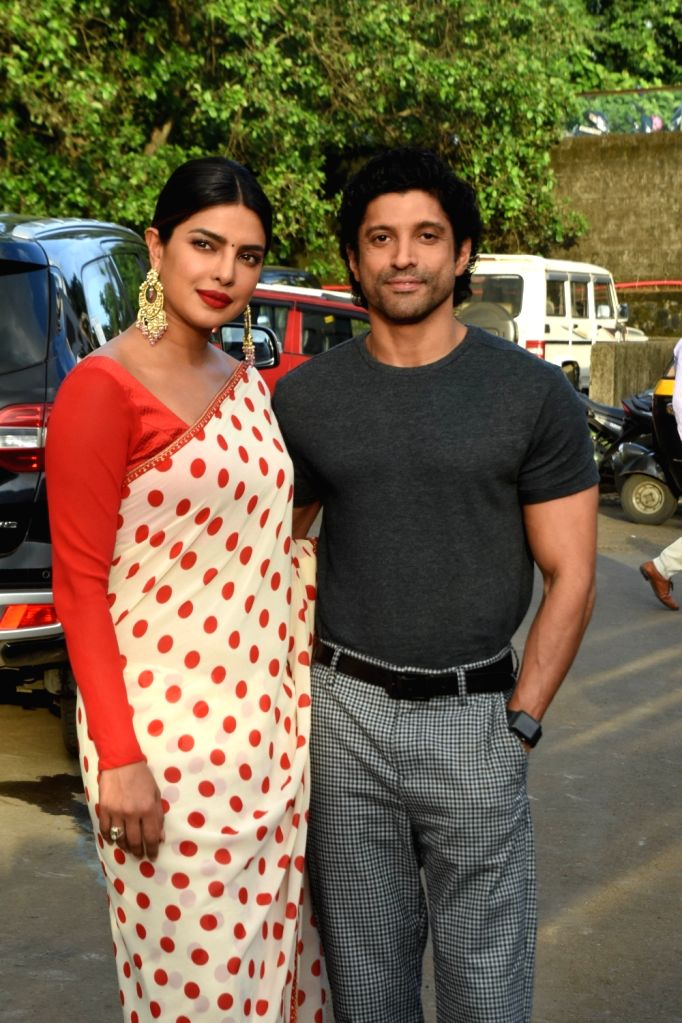 """Actors Priyanka Chopra and Farhan Akhtar during promotions of upcoming film """"The Sky Is Pink"""" in Mumbaai on Sep 28, 2019. - Priyanka Chopra and Farhan Akhtar"""