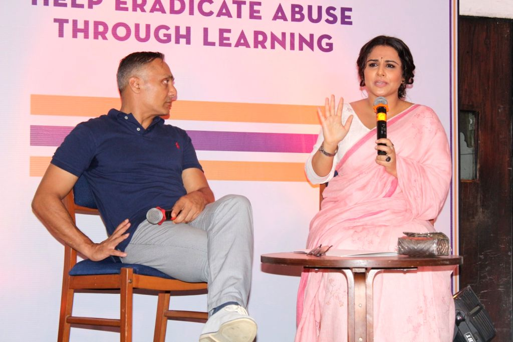 Actors Rahul Bose and Vidya Balan during the launch of Rahul Bose's NGO against child sexual abuse- HEAL (Help Eradicate Abuse Through Learning) in Mumbai, on July 25, 2017. - Rahul Bose and Vidya Balan