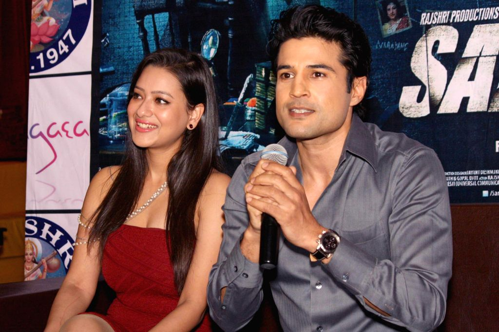 Actors Rajeev Khandelwal and Madalasa Sharma during a press conference to promote their upcoming film 'Samrat & Co' in New Delhi on April 22, 2014. - Rajeev Khandelwal and Madalasa Sharma