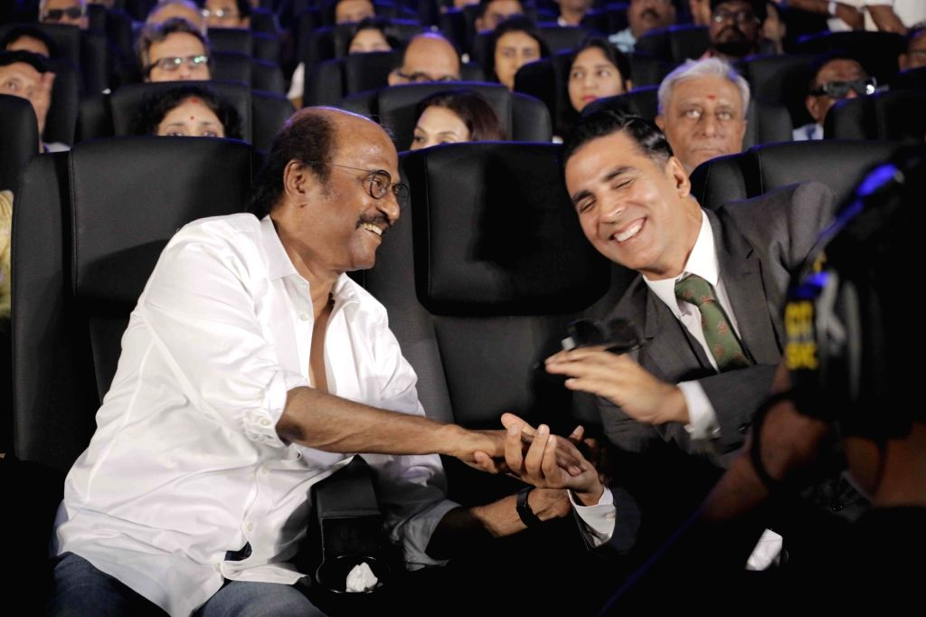 """Actors Rajinikanth and Akshay Kumar at the trailer launch of their upcoming film """" 2.0"""" in Chennai on Nov 3, 2018. - Rajinikanth and Akshay Kumar"""