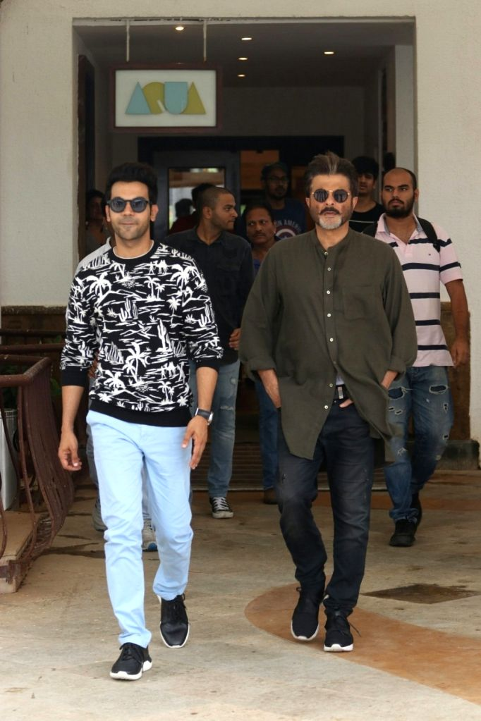 "Actors Rajkumar Rao and Anil Kapoor at media interactions during the promotions of their upcoming film ""Fanney Khan"", in Mumbai on July 21, 2018. - Rajkumar Rao, Anil Kapoor and Fanney Khan"