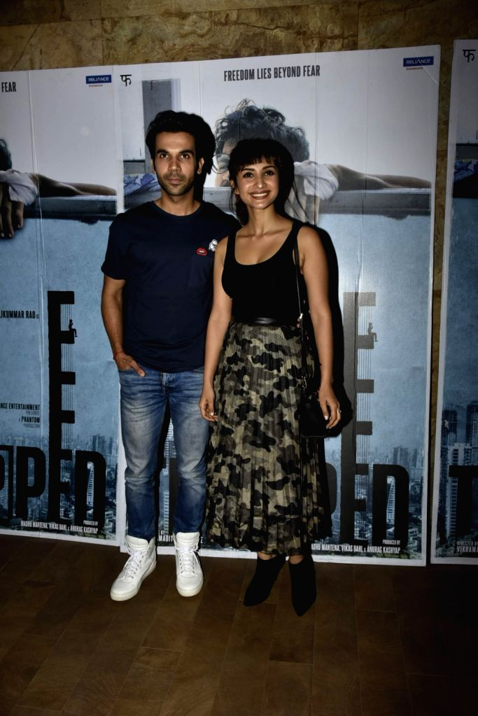 Actors Rajkumar Rao and Patralekha during the screening of film ''Trapped'' in Mumbai on March 10, 2017. - Rajkumar Rao and Patralekha
