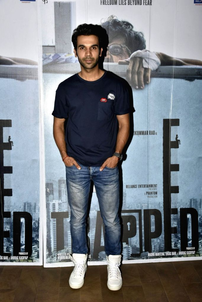 Actors Rajkumar Rao during the screening of film ''Trapped'' in Mumbai on March 10, 2017. - Rajkumar Rao