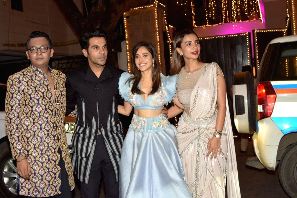Actors Rajkumar Rao, Nushrat Bharucha and Patralekha at actor Anil Kapoor's Diwali bash in Mumbai on Oct 27, 2019. - Anil Kapoo, Rajkumar Rao, Nushrat Bharucha, Patralekha and Kapoor
