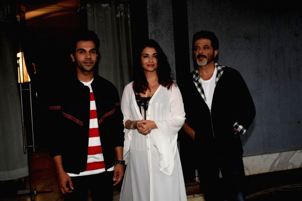 """Actors Rajkummar Rao, Aishwarya Rai Bachchan and Anil Kapoor during a media interaction to promote their upcoming film """"Fanney Khan"""" in Mumbai on July 31, 2018. - Rajkummar Rao, Aishwarya Rai Bachchan, Anil Kapoor and Fanney Khan"""