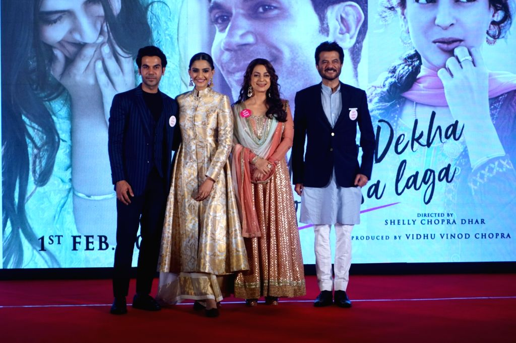 "Actors Rajkummar Rao, Sonam Kapoor, Juhi Chawla and Anil Kapoor during the press conference of their upcoming film ""Ek Ladki Ko Dekha Toh Aisa Laga"" in Mumbai on Jan 28, 2019. - Rajkummar Rao, Sonam Kapoor, Juhi Chawla and Anil Kapoor"