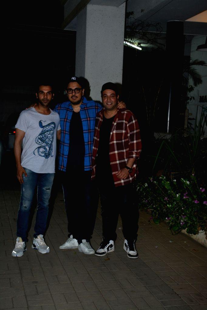 Actors Rajkummar Rao, Varun Sharma and producer Dinesh Vijan seen in Mumbai's Bandra, on April 10, 2019. - Rajkummar Rao and Varun Sharma