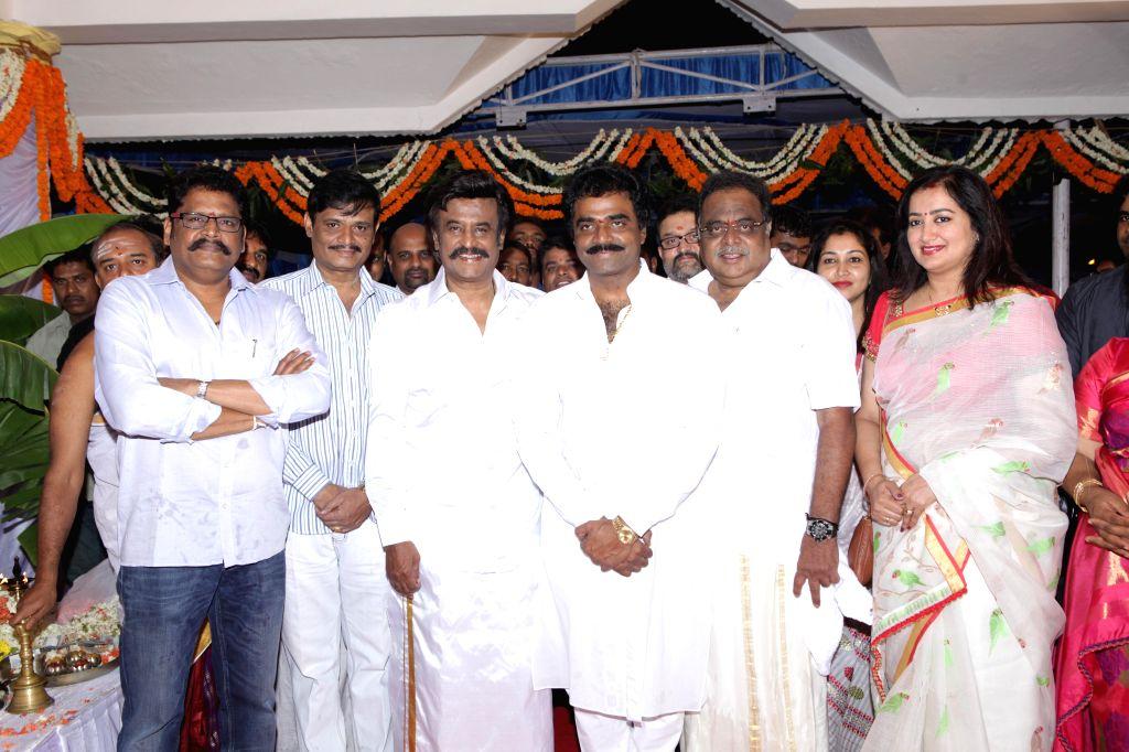 Actors Rajnikanth, Ambareesh and others during the muhurat shot of film 'Lingaa' at Chamundi Hill in Mysore  on May 2, 2014. - Rajnikanth and Ambareesh