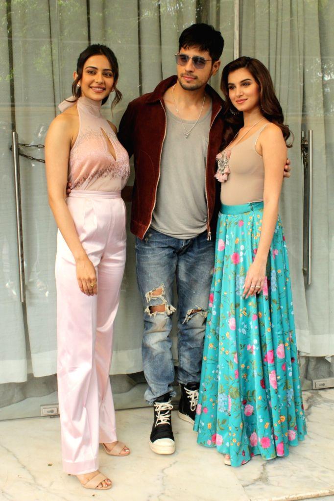 "Actors Rakul Preet Singh, Sidharth Malhotra and Tara Sutaria during promotions of upcoming film ""Marjaavaan"" in Mumbai on Oct 31, 2019. - Rakul Preet Singh, Sidharth Malhotra and Tara Sutaria"