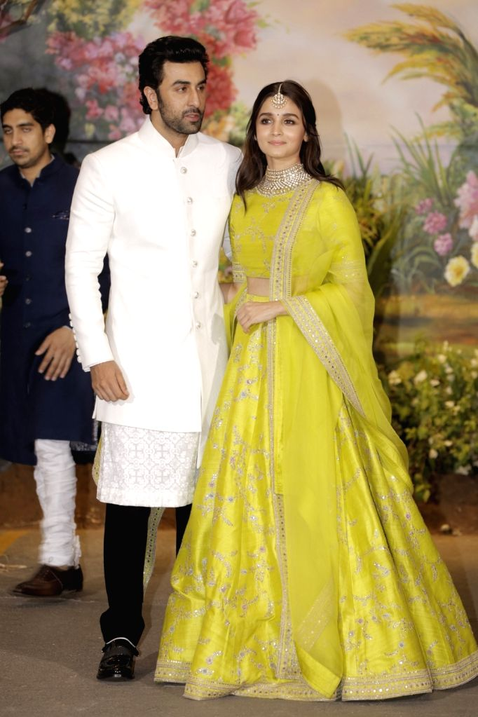 Actors Ranbir Kapoor and Alia Bhatt at the wedding reception of actress Sonam Kapoor and businessman Anand Ahuja in Mumbai on May 8, 2018. - Sonam Kapoor, Ranbir Kapoor and Alia Bhatt