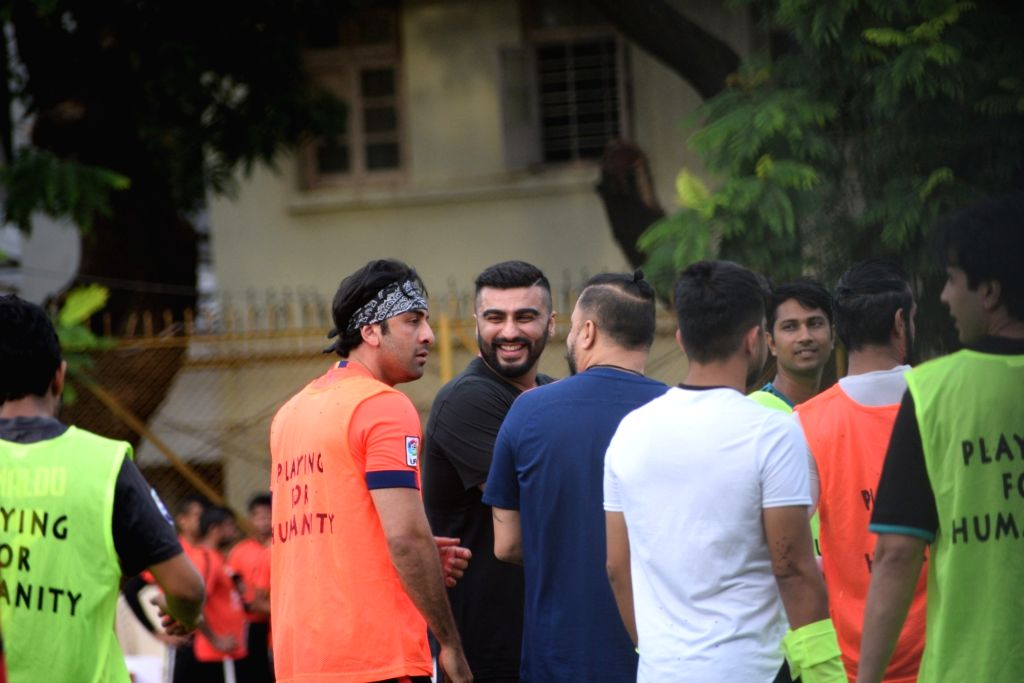 Actors Ranbir Kapoor and Arjun Kapoor during a football match at Juhu in Mumbai on Aug 25, 2019. - Ranbir Kapoor and Arjun Kapoor