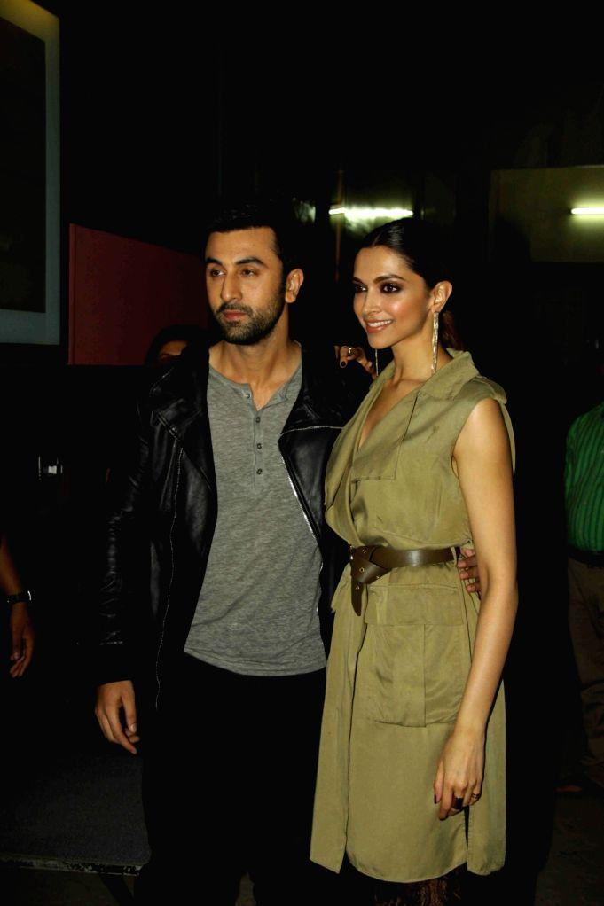 Actors Ranbir Kapoor and Deepika Padukone during the promotion of film Tamasha in Mumbai on Nov 16, 2015. - Ranbir Kapoor and Deepika Padukone