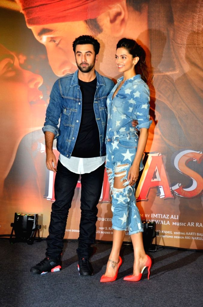 Actors Ranbir Kapoor and Deepika Padukone during the promotion of film Tamasha in Mumbai on Nov 18, 2015. - Ranbir Kapoor and Deepika Padukone