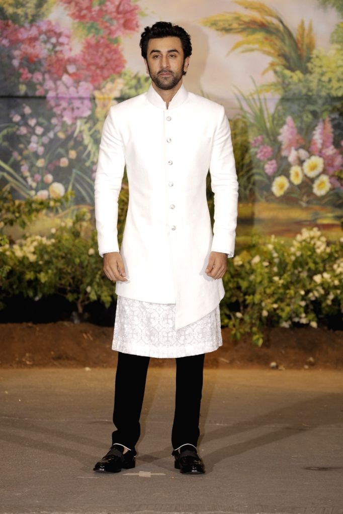 Actors Ranbir Kapoor at the wedding reception of actress Sonam Kapoor and businessman Anand Ahuja in Mumbai on May 8, 2018. - Sonam Kapoor and Ranbir Kapoor