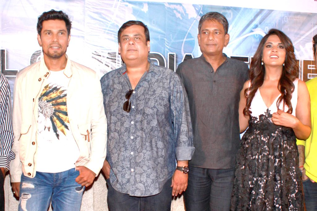 Actors Randeep Hooda, Adil Hussain and Richa Chadda during a press conference to promote their upcoming film `Main Aur Charles` in Noida, on Oct 27, 2015. - Randeep Hooda, Adil Hussain and Richa Chadda