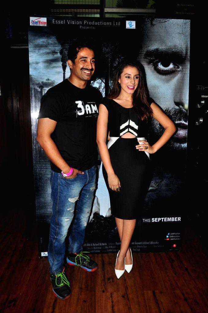 Actors Rannvijay Singh and Anindita Nayar during the music launch of film 3AM, in Mumbai, on Sept 9, 2014. - Rannvijay Singh and Anindita Nayar