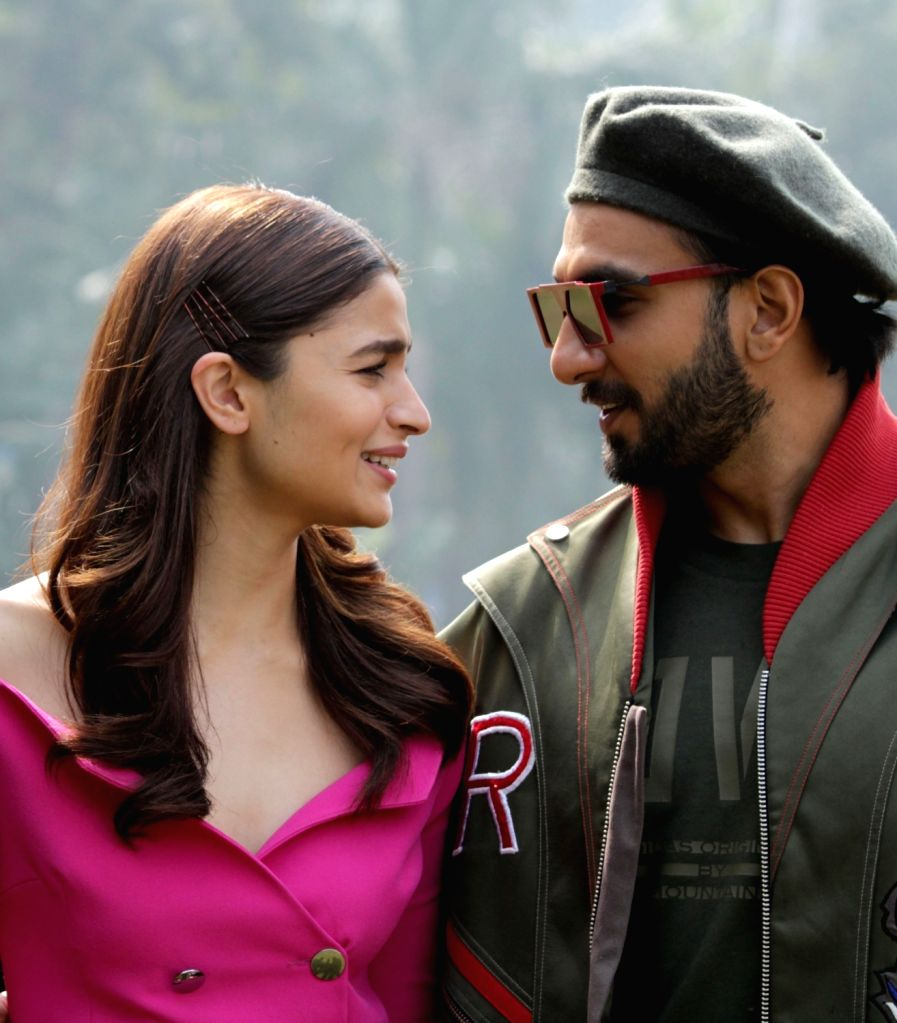 "Actors Ranveer Singh and Alia Bhatt during a press conference regarding their upcoming film ""Gully Boy"" in New Delhi on Feb 13, 2019. - Ranveer Singh and Alia Bhatt"