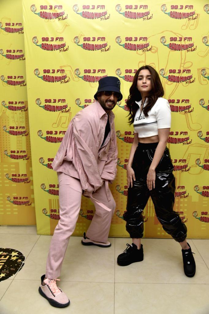"Actors Ranveer Singh and Alia Bhatt during the promotion of their upcoming film ""Gully Boy"" at Radio Mirchi studio in Mumbai, on Feb 4, 2019. - Ranveer Singh and Alia Bhatt"