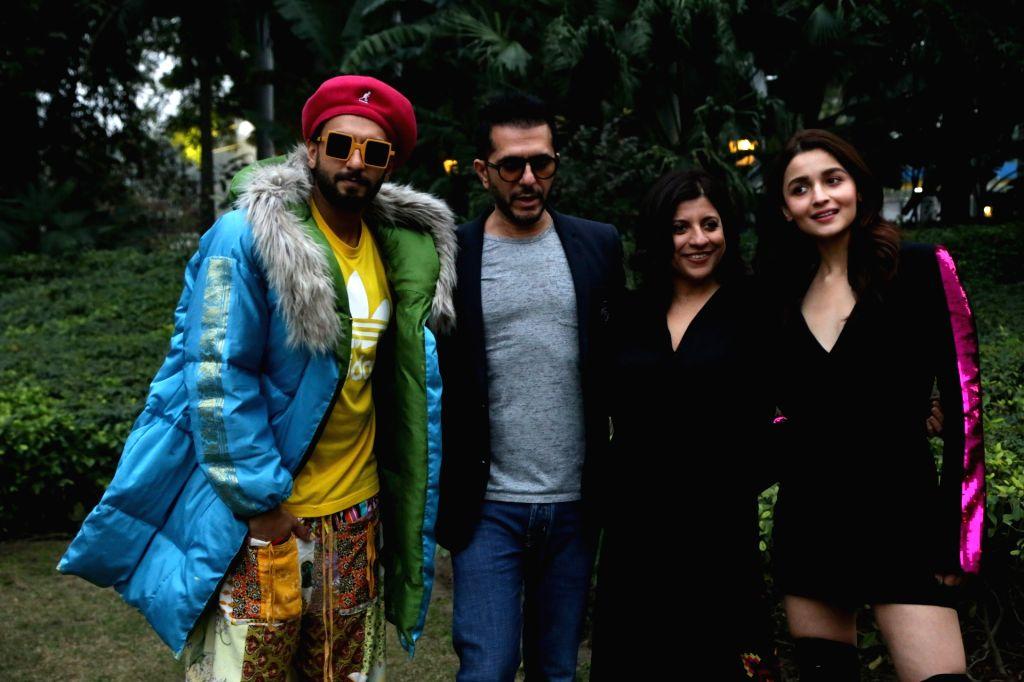 "Actors Ranveer Singh and Alia Bhatt with filmmakers Zoya Akhtar and Ritesh Sidhwani during a photo shoot ahead of release of their upcoming film ""Gully Boy"" in New Delhi on Feb ... - Ranveer Singh and Alia Bhatt"