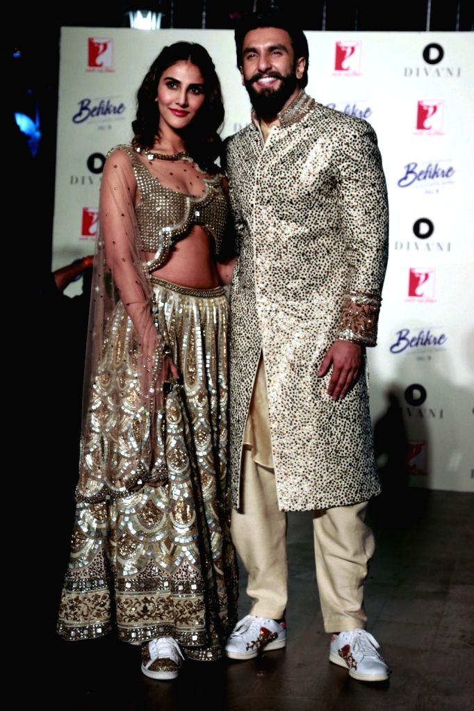 "Actors Ranveer Singh and Vaani Kapoor during the cinema-inspired ethnic wear fashion brand ""Divani"" fashion show in New Delhi on Nov 23, 2016. - Ranveer Singh and Vaani Kapoor"