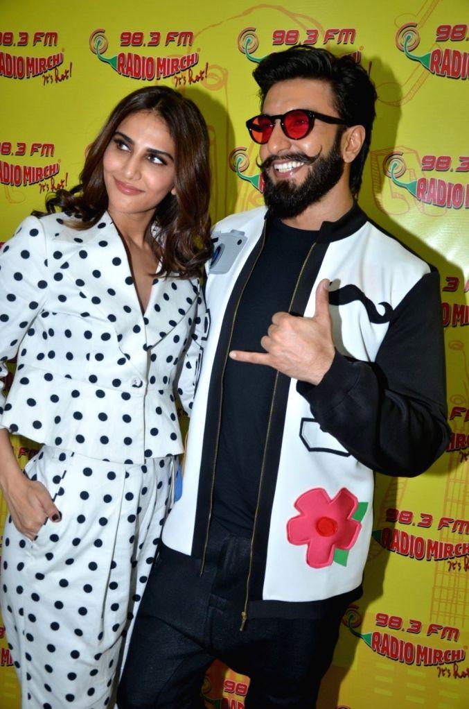 Actors Ranveer Singh and Veena Kapoor during the promotion of film Befikre at Radio Mirchi studio in Mumbai, on Nov 28, 2016. - Ranveer Singh and Veena Kapoor