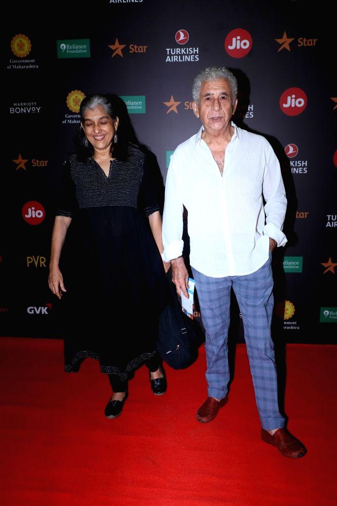 Actors Ratna Pathak Shah and Naseeruddin Shah at the Red Carpet of Jio MAMI 21st Mumbai Film Festival, on Oct 18, 2019. - Ratna Pathak Shah and Naseeruddin Shah