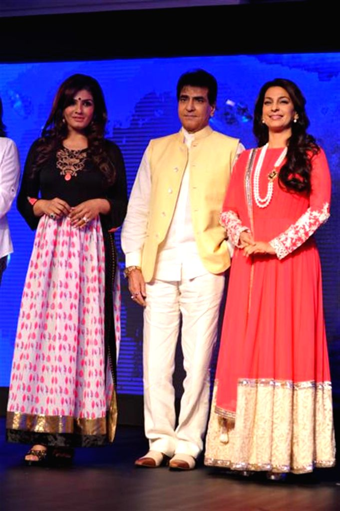 Actors Raveena Tandon, Jeetendra and Juhi Chawla during the launch of Multi Screen Media (MSM) new Hindi general entertainment channel Sony Pal in Mumbai on August 7, 2014. - Raveena Tandon, Jeetendra and Juhi Chawla