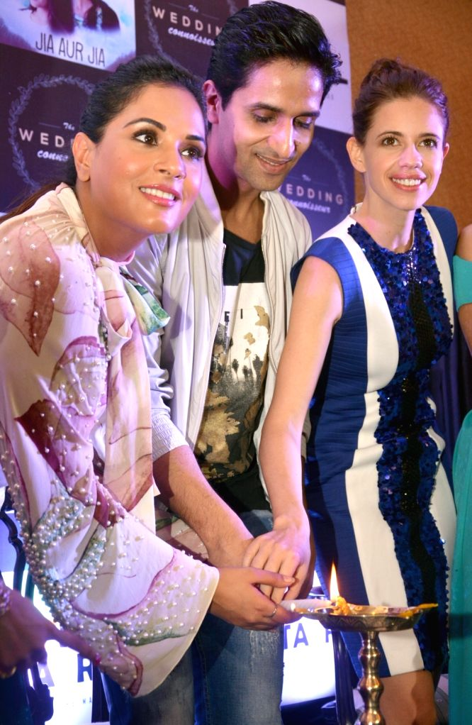 Actors Richa Chadda, Arslan Goni and Kalki Koechlin during a promotional programme in Kolkata on Oct 11, 2017. - Richa Chadda, Arslan Goni and Kalki Koechlin