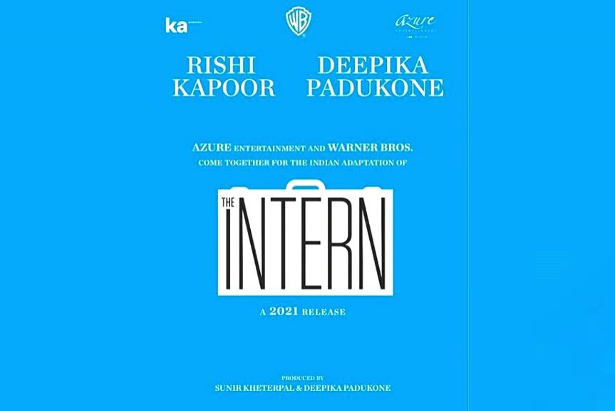 """Actors Rishi Kapoor and Deepika Padukone will star in the official Hindi remake of the Rober De Niro-Anne Hathaway starrer Hollywood comedy hit, """"The Intern"""". Sharing the news on social media, Deepika wrote: """"Thrilled to present my next! The Indian a - Rishi Kapoor and Deepika Padukone"""