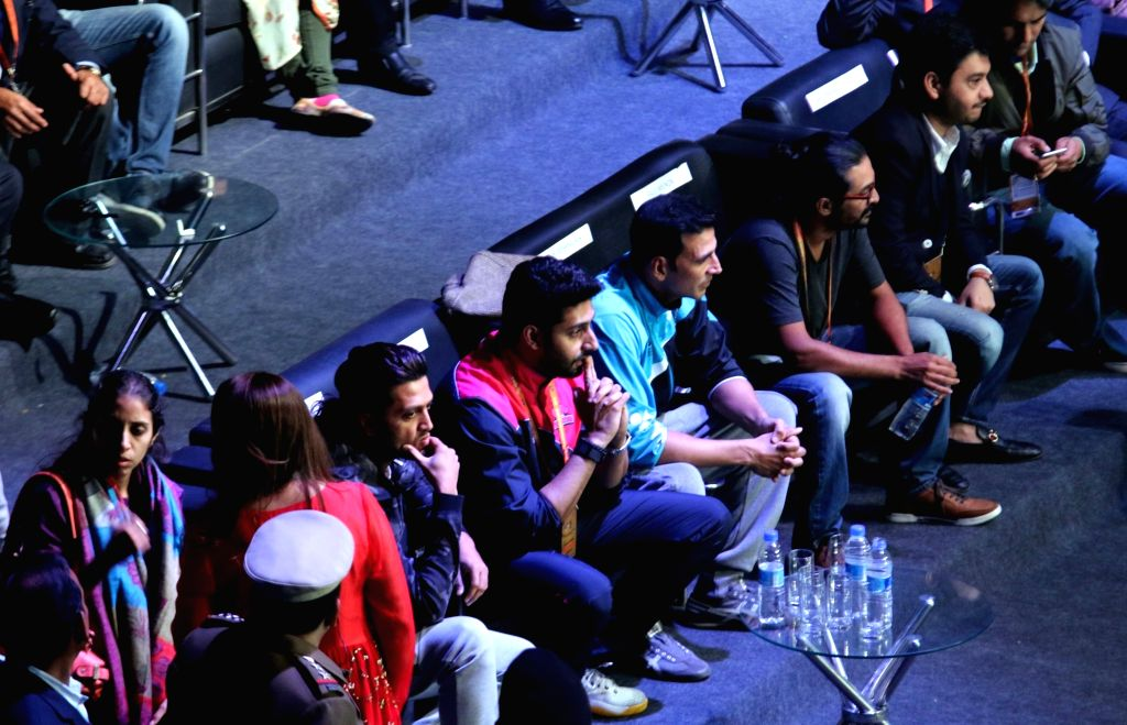 Actors Riteish Deshmukh, Akshay Kumar and Abhishek Bachchan during a Premier Badminton League match in New Delhi, on Jan 17, 2016. Mumbai Rockets won. - Riteish Deshmukh, Akshay Kumar and Abhishek Bachchan