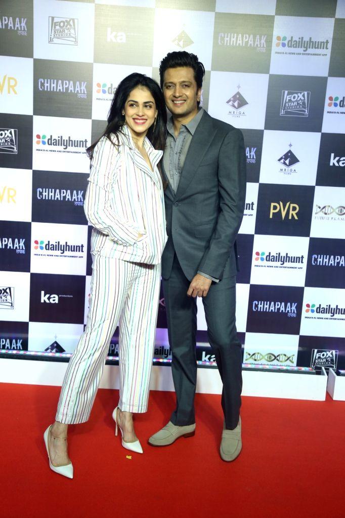 """Actors Riteish Deshmukh and Genelia D???Souza at the screening of the film """"Chhapaak"""" in Mumbai on Jan 8, 2020. - Riteish Deshmukh and Genelia D"""