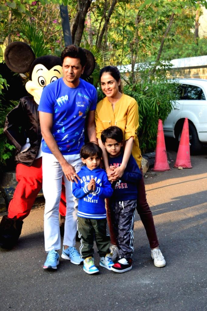 Actors Riteish Deshmukh and Genelia D'Souza with their sons Riaan Deshmukh and Rahyl Deshmukh at a party hosted by producer Ekta Kapoor as her son Ravie Kapoor turned one, in Mumbai on Jan ... - Riteish Deshmukh, Genelia D'Souza, Riaan Deshmukh, Rahyl Deshmukh, Ekta Kapoor and Ravie Kapoor