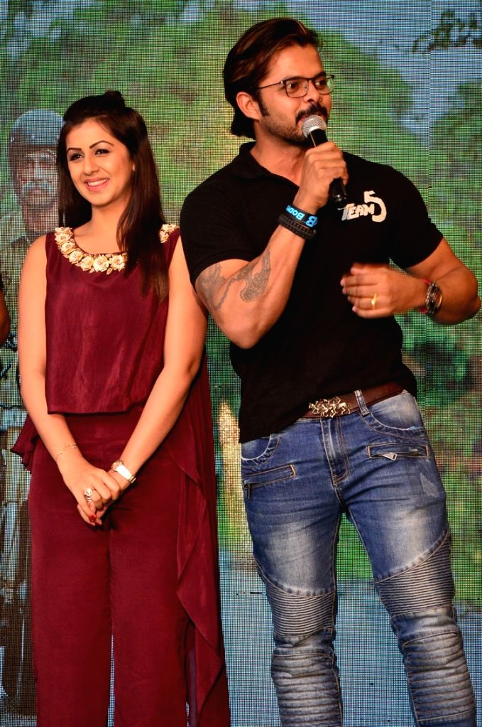 """Actors S. Sreesanth and Nikki Galrani during the trailer launch of their upcoming Malayalam film """"Team 5"""". - S. Sreesanth and Nikki Galrani"""