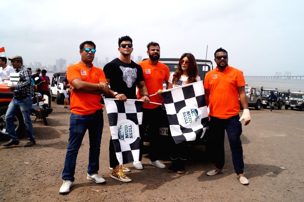 "Actors Sahil Khan and Shama Sikandar during the flagging off ceremony of car rally - ""Off Roading"", in Mumbai on May 27, 2018. - Sahil Khan and Shama Sikandar"