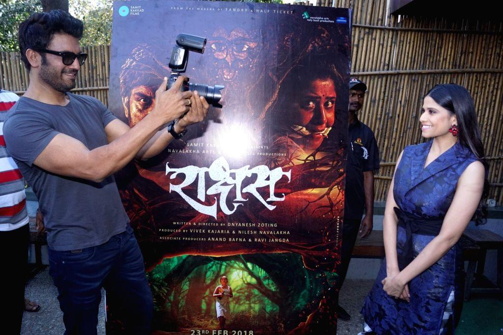 "Actors Sai Tamhankar and Sharad Kelkar during an interview for their upcoming film ""Rakshas"" in Mumbai on Feb 12, 2018. - Sai Tamhankar and Sharad Kelkar"