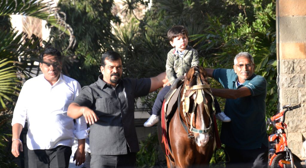 Actors Saif Ali Khan and Kareeena Kapoor's son Taimur Ali Khan seen riding a horse in Mumbai on Feb 8, 2019. - Saif Ali Khan, Kareeena Kapoor and Taimur Ali Khan