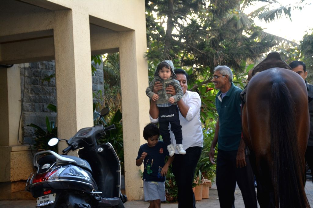 Actors Saif Ali Khan and Kareeena Kapoor's son Taimur Ali Khan in Mumbai on Feb 8, 2019. - Saif Ali Khan, Kareeena Kapoor and Taimur Ali Khan