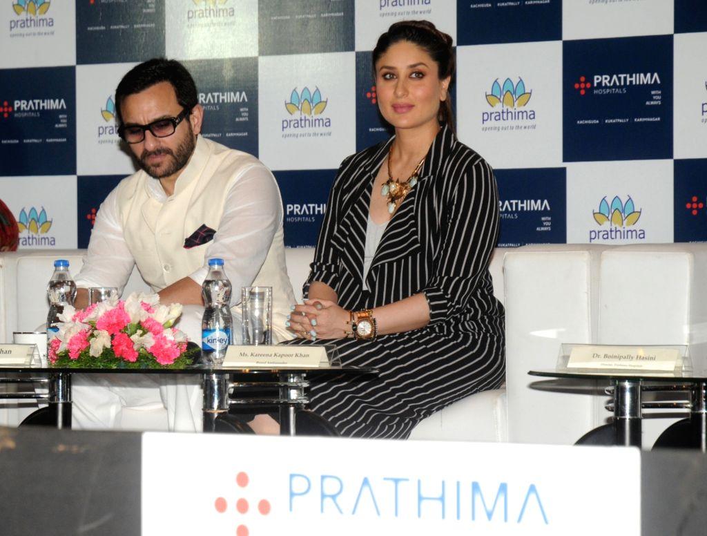 Actors Saif Ali Khan and Kareena Kapoor during a programme in Hyderabad on Oct 2, 2016. - Saif Ali Khan and Kareena Kapoor
