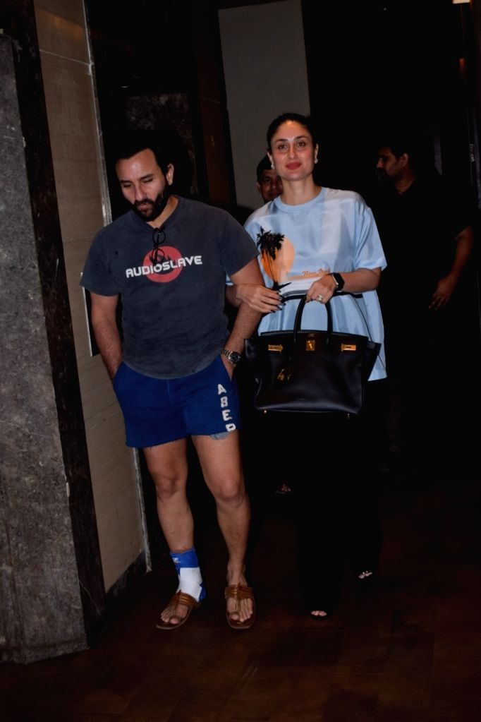 "Actors Saif Ali Khan and Kareena Kapoor Khan during the screening of upcoming film ""Chef"" in Mumbai on Oct 4, 2017. - Saif Ali Khan and Kareena Kapoor Khan"