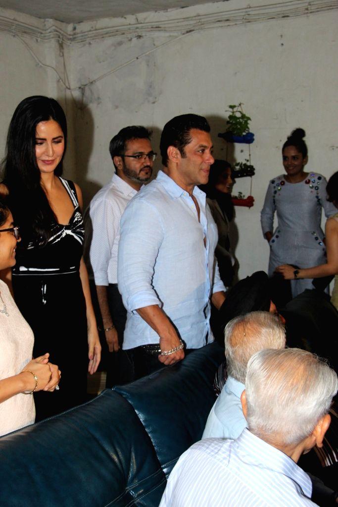 """Actors Salman Khan and Katrina Kaif at the screening of their upcoming film """"Bharat"""", in Mumbai on June 12, 2019. - Salman Khan and Katrina Kaif"""