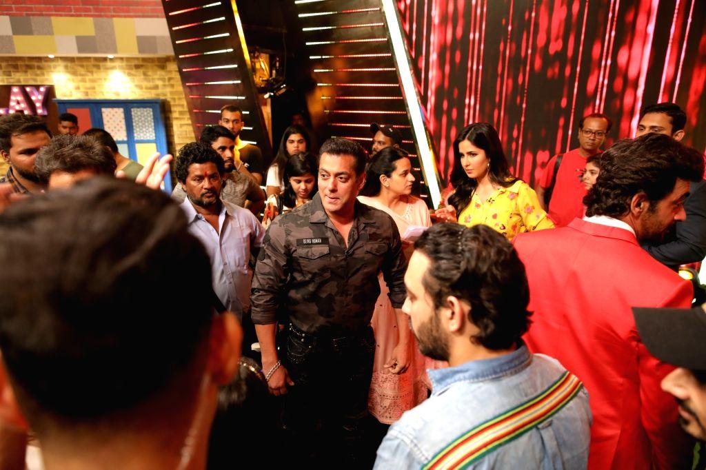 Actors Salman Khan and Katrina Kaif during a programme at Star Sports studio, in Mumbai, on May 12, 2019. - Salman Khan and Katrina Kaif