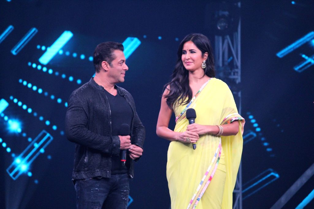 "Actors Salman Khan and Katrina Kaif on the sets of a dance reality show ""Super Dancer chapter 3"", in Mumbai on May 27, 2019. - Salman Khan and Katrina Kaif"
