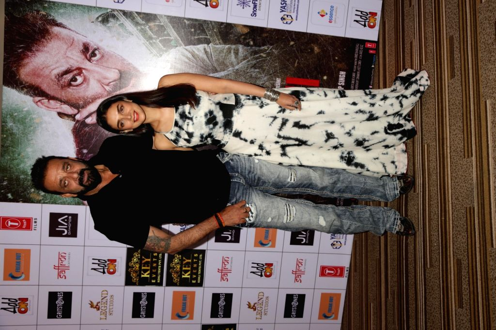 """Actors Sanjay Dutt and Aditi Rao Hydari during the promotion of their upcoming film """"Bhoomi"""" in New Delhi on Sept 16, 2017. - Sanjay Dutt and Aditi Rao Hydari"""