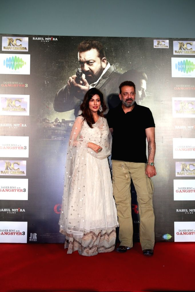 "Actors Sanjay Dutt and Chitrangada Singh at the trailer launch of upcoming film ""Saheb, Biwi Aur Gangster 3"" in Mumbai, on June 30, 2018. - Sanjay Dutt and Chitrangada Singh"