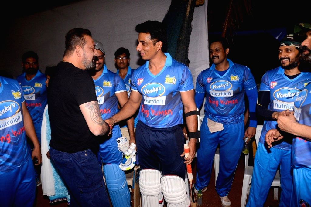 Actors Sanjay Dutt and Sonu Sood during Celebrity Cricket League Match in Mumbai on April 3, 2018. - Sanjay Dutt and Sonu Sood