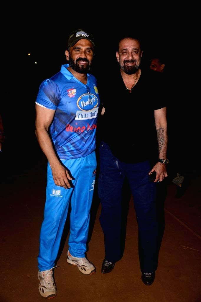 Actors Sanjay Dutt and Suniel Shetty during Celebrity Cricket League Match in Mumbai on April 3, 2018. - Sanjay Dutt and Suniel Shetty