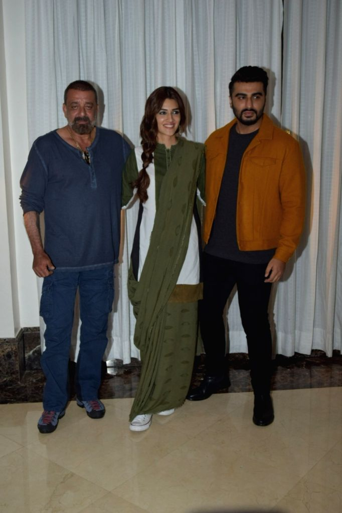 "Actors Sanjay Dutt, Arjun Kapoor and Kriti Sanon during the promotions of their upcoming film ""Panipat"" in Juhu, Mumbai on Dec 2, 2019. - Sanjay Dutt, Arjun Kapoor and Kriti Sanon"