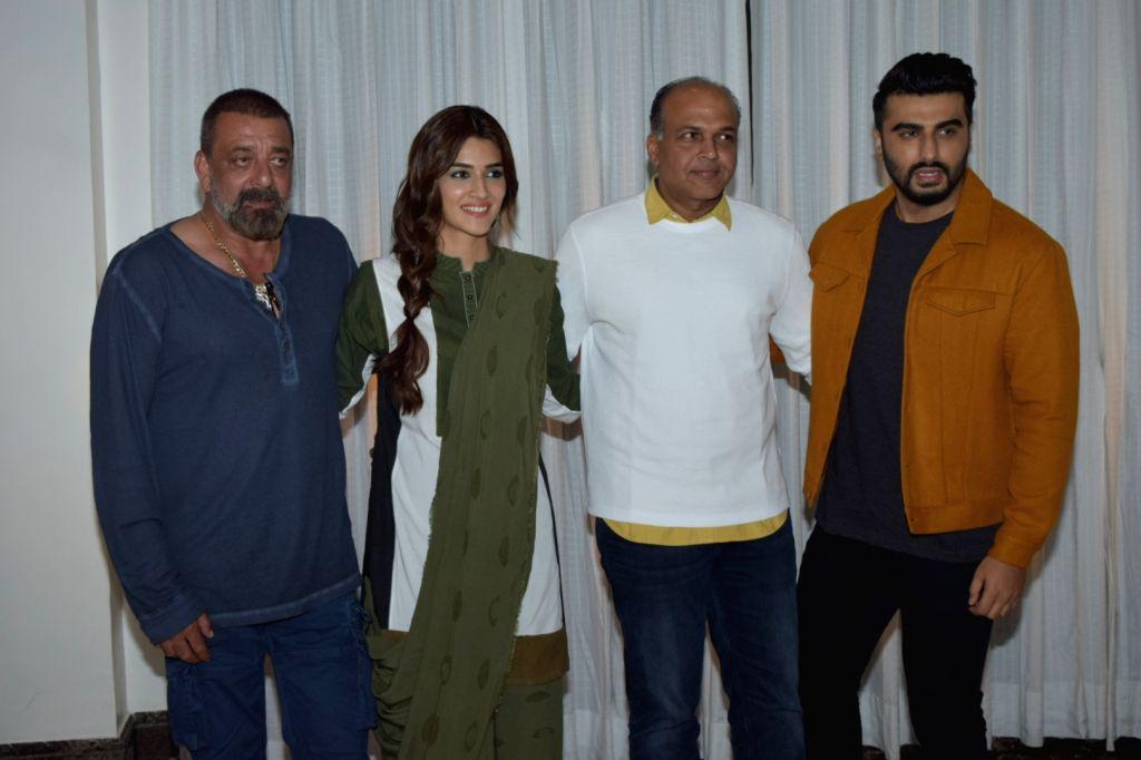 "Actors Sanjay Dutt, Arjun Kapoor, Kriti Sanon and director Ashutosh Gowariker during the promotions of their upcoming film ""Panipat"" in Juhu, Mumbai on Dec 2, 2019. - Ashutosh Gowariker, Sanjay Dutt, Arjun Kapoor and Kriti Sanon"